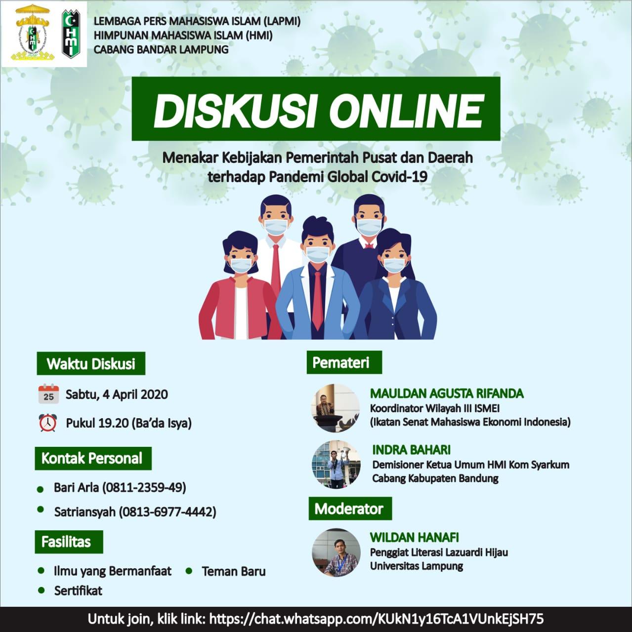 Diskusi Online Mahasiswa Indonesia, Menakar Kebijakan Pemerintah Soal Covid-19