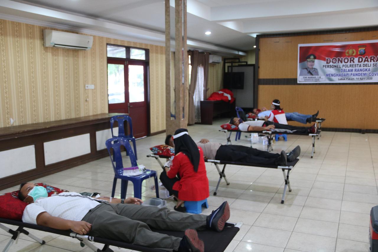 Darah Menipis di Tengah Corona, Polresta Deli Serdang Lakukan Donor Darah