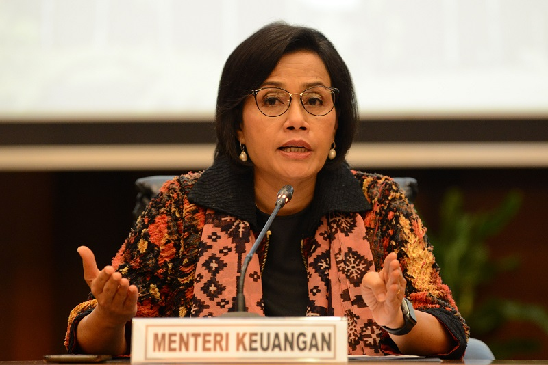 Menteri Keuangan Sri Mulyani memberikan keterangan pers mengenai Pembayaran Tunjangan Hari Raya (THR) 2019 di Kementrian Keuangan, Jakarta, Jumat (24/5/2019).