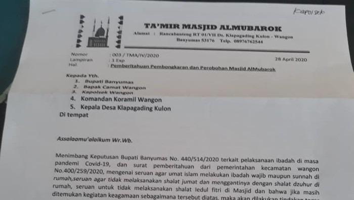 Viral Surat Bongkar Masjid di Banyumas, Ini Kata MUI