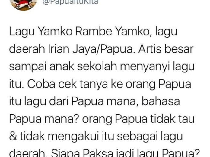 Heboh Lagu Yamko Rambe Yamko Disebut Bukan dari Papua?