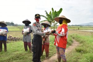 Kapolres Banjar, Sambangi Petani dan Berikan Bansos