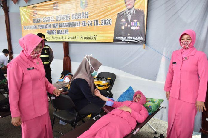 Hari Bhayangkara ke-74, KB Polres Banjar Gelar Baksos Donor Darah