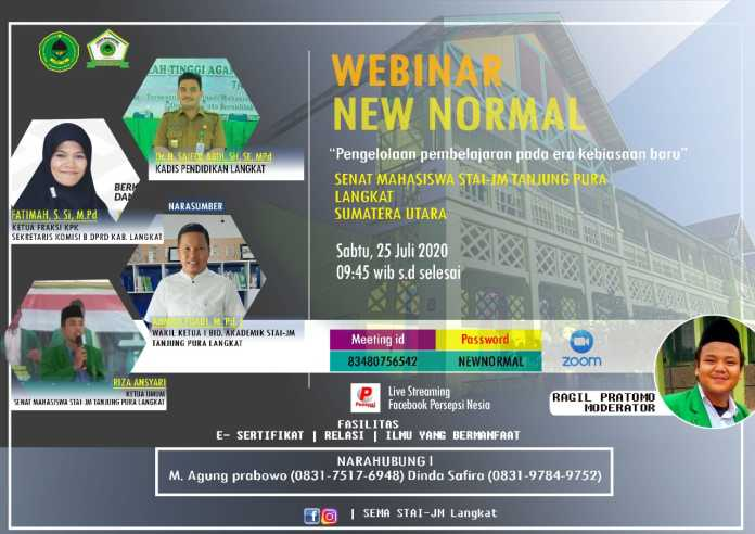 SEMA STAI JM Tanjung Pura Langkat, Gelar Webinar Pengelolaan Pembelajaran Era Kebiasaan Baru