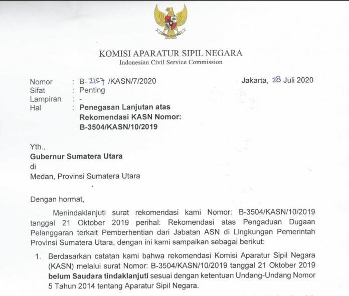 Sekda Provinsi Sumatera Utara Diam, Soal Rekomendasi KASN