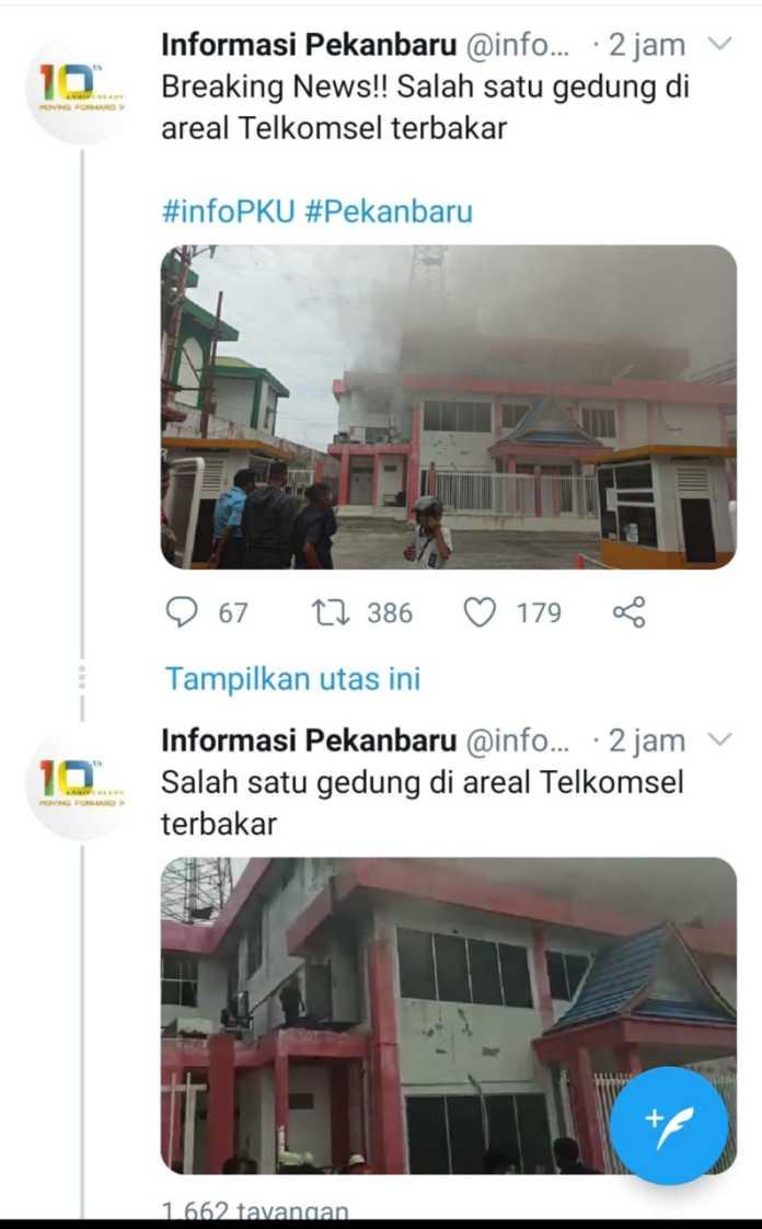 Jaringan Telkomsel Terganggu, Ternyata Gedung Terbakar di Pekanbaru