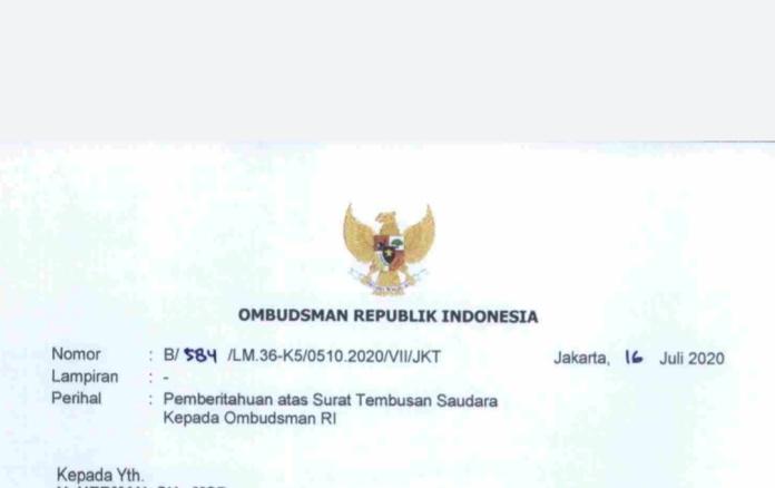 Ombudsman RI, Menerima Surat Tembusan Terkait Rekomendasi KASN yang Belum Dilantik Gubsu