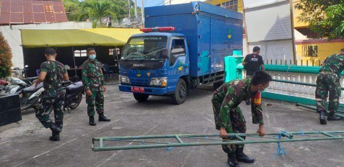 Kodam XIII/ Merdeka, Dirikan Dapur Umum Bantu Korban Banjir Kelurahan Ternate Tanjung