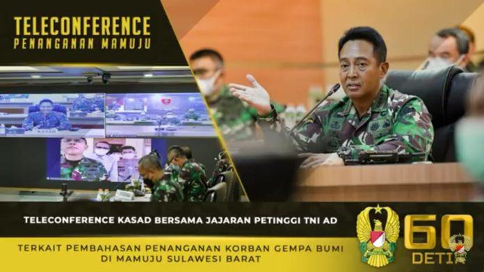 Jenderal TNI Andika Perkasa, Teleconference Terkait Penanganan Korban Gempa Bumi di Mamuju