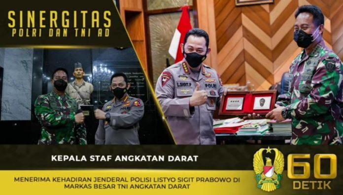 Jenderal TNI Andika Perkasa, Menerima Kehadiran Kapolri Listyo Sigit Prabowo di Mabesad