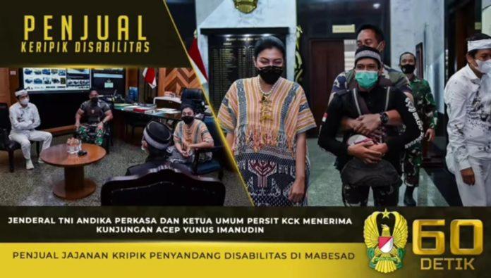 Kasad Andika Perkasa dan Ketum Persit KCK, Menerima Kunjungan Penjual Kripik Disabilitas
