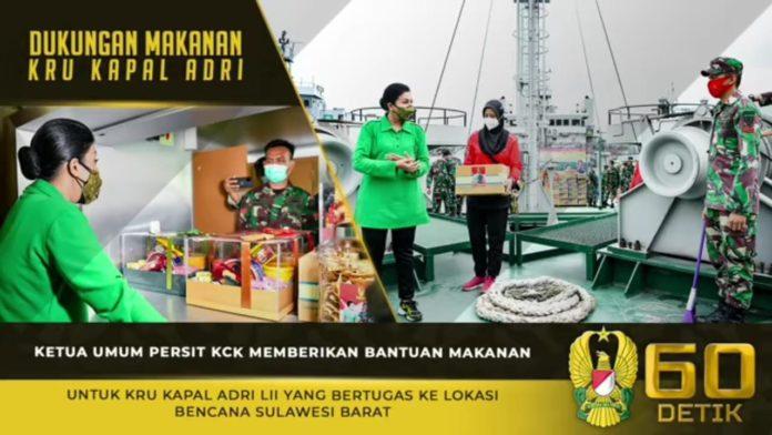 Ketum Persit KCK, Berikan Bantuan Makanan untuk Kru Kapal ADRI LII yang Bertugas ke Lokasi Bencana Sulbar