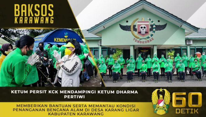 Ketum Persit KCK, Memberikan Bantuan dan Mengunjungi Lokasi Banjir di Karawang