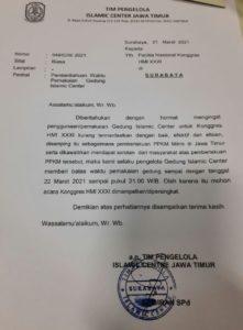 Panitia Kongres HMI di Surabaya, Dapat Kiriman Surat dari Pengelola Islamic Center