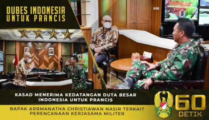 KASAD Andika Perkasa, Menerima Kedatangan Dubes Indonesia untuk Prancis